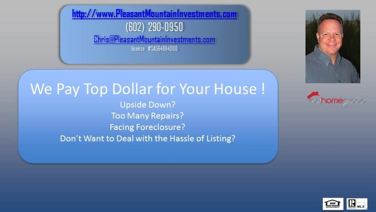 We Buy Houses Phoenix  https://gp1pro.com/USA/AZ/Maricopa/Peoria/8631_w_Union_Hills__206.html  Pleasant Mountain Investments, LLC. buys all types of real estate including: Single family homes, condominiums, townhouses, condos, apartments and even vacant land! Let Pleasant Mountain Investments, LLC. make a quick and easy cash offer for your AZ property today! Download our FREE, special report showing you how to sell your house within 10 days by going to www.PleasantMountainInvestments.com