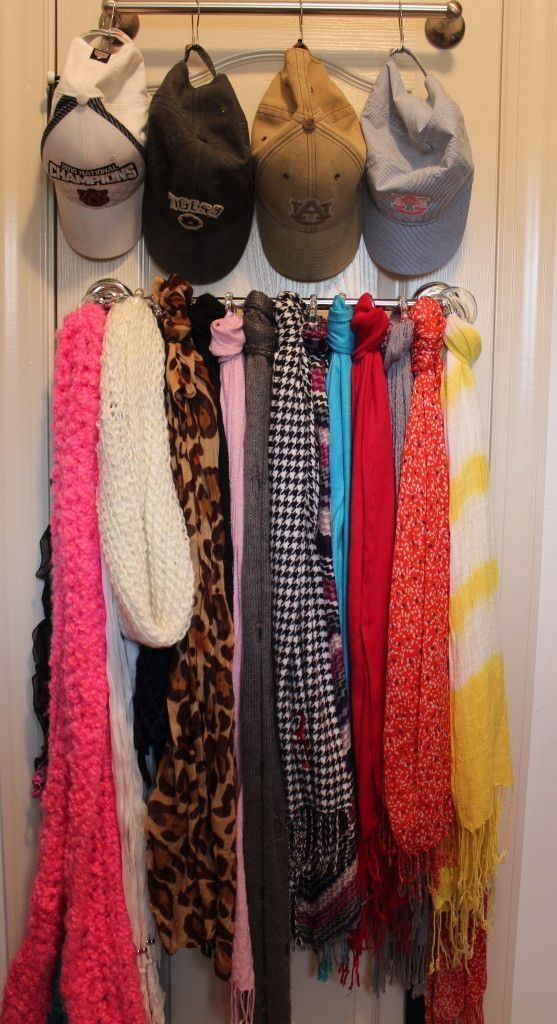 closet organization scarves and hats