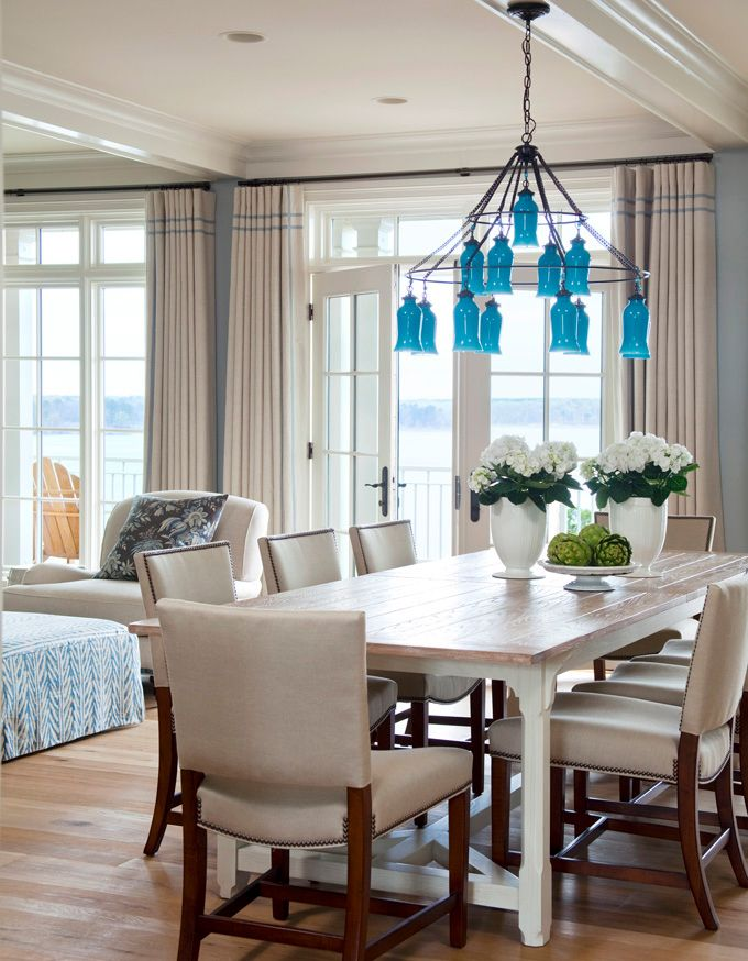 Dining Room With Turquoise Chandelier