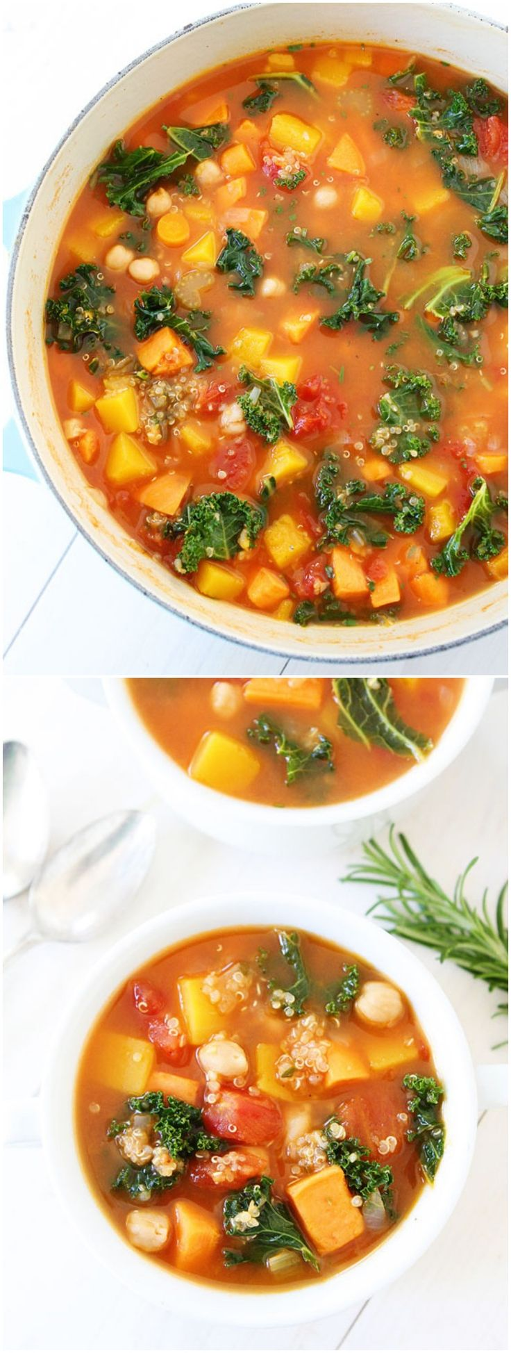 Fall Vegetable Quinoa Soup Recipe on twopeasandtheirpod.com This healthy soup is vegan and gluten free! It's easy to make too!