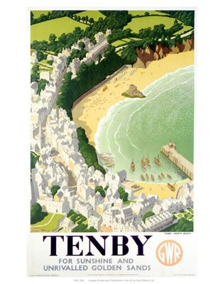 Tenby #Vintage #Rail #Poster #Print #Art #Vintage #Old #Classic #British #Britain #Wales #UK #Travel #Railway #Posters #Gifts www.vintagerailposters.co.uk
