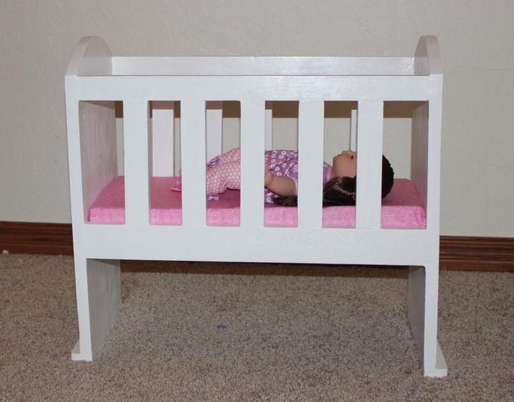Custom Baby Doll Crib, Wooden Doll Crib, 18 inch Doll Furniture, American Girl, Bitty Baby, Build-A-Bear by StepOfFaithCreations on Etsy https://www.etsy.com/listing/213058877/custom-baby-doll-crib-wooden-doll-crib