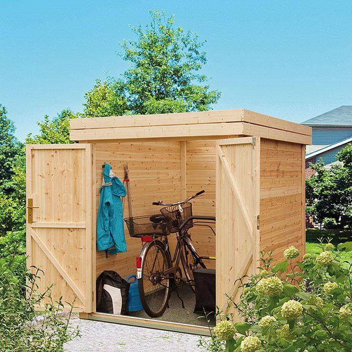 Fahrradbox Kiefer Fichte Flachdach Fahrradbox Hutte Vorgarten Gartenhaus Mit Sauna