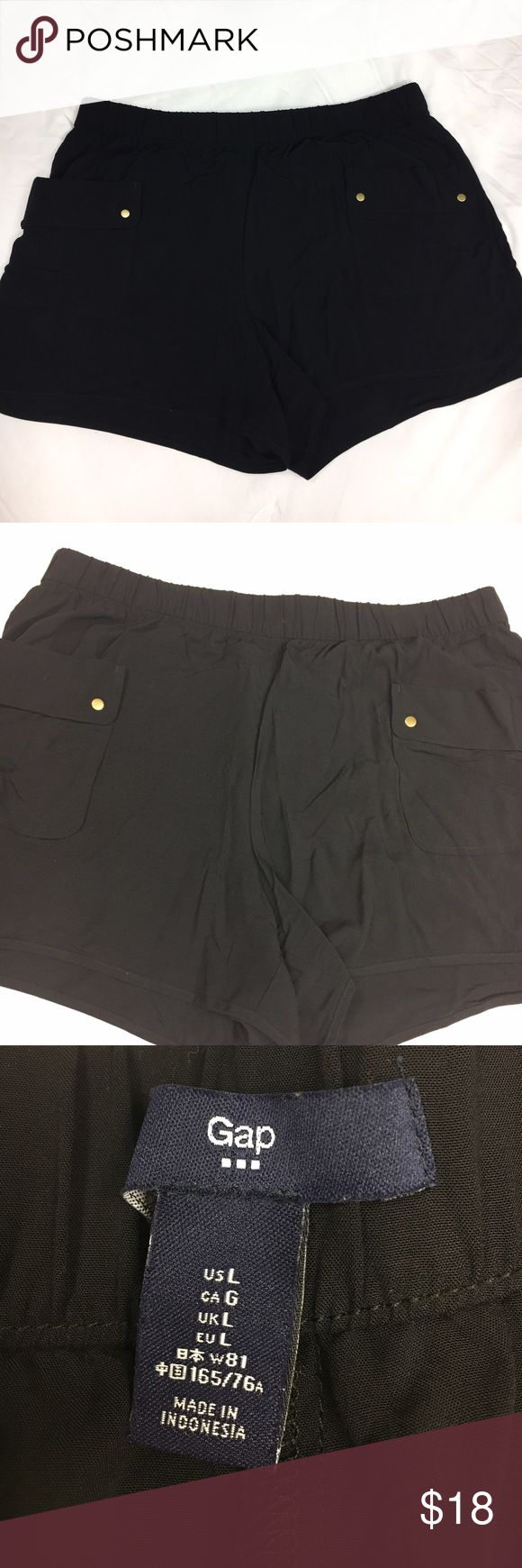 GAP Outlet black size Large dressy casual shorts Good condition GAP Outlet black casual yet classy shorts. Front pockets with cute round metal accents, elastic waist at 34inches, and 3inch inseam. Comfy and cute!! Size Large or like an 8-10 Gap Outlet Shorts Jean Shorts