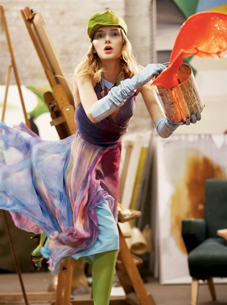 "Snejana Onopka painting large in ""Strokes of Genius"" for US Vogue, March 2006. Photographer: Steven Meisel. ""Over the Rainbow. And when one color of the spectrum won't satisfy, wear them all. Ralph Lauren Black Label multicolored chiffon dress,..."
