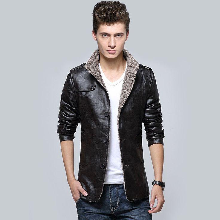 Winter Slim Fit Faux Leather Fashion Coat For Men