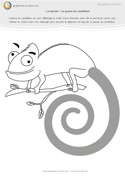 Atelier Graphisme MS Spirale – Fabriquer une queue de caméléon avec de la peinture, la colle et du coton. Rajouter les queues de caméléons au feutre.