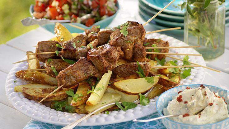 Recept kryddiga grillspett av fläskkarre