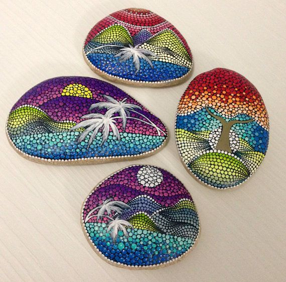 These painted stones are beautiful. RESERVED FOR Gina Big Dot Art Sunrise Painted stone painted