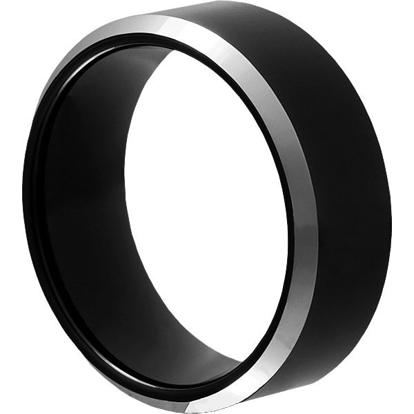 Kana Black Tungsten Relationship Rings for Couples 9mm Beveled Silver