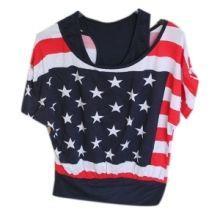 Top american style imprimé du drapeau américain avec débardeur en dessous