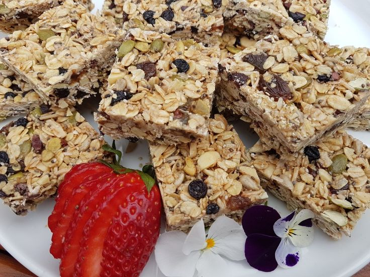 Muesli bars loaded with nuts, seeds and dried fruits