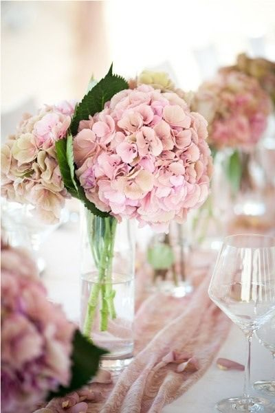Hydrangea wedding centerpieces.