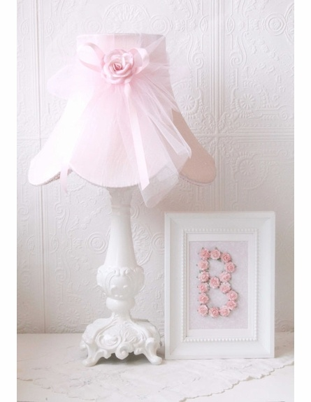 Pink Dupioni Silk and Tulle Table Lamp