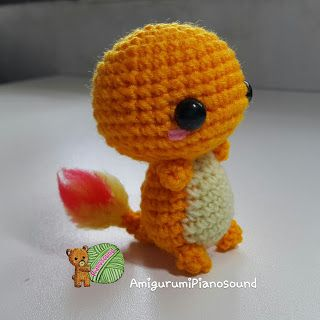Chermander - Hitokage Pokemon Doll - Free English Pattern and Videotutorial here: http://amigurumipianosound.blogspot.com.es/2016/04/charmander-hitokage-pokemon-pattern.html