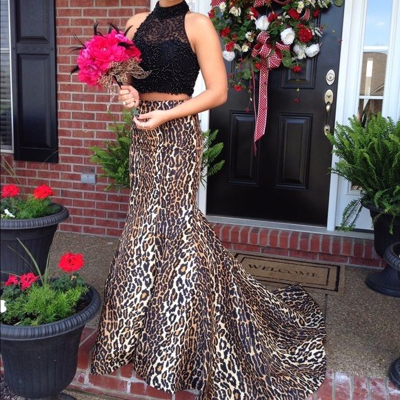Sherri Hill Dress Spring 2015 line. Wore once. Two piece cheetah prom dress. Sherri Hill Dresses