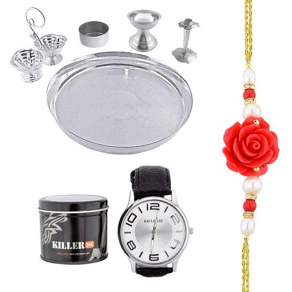 Jpearls Puja Thali Hamper | Silver Plated Puja Thali | Killer Watch | Rose Pearl Rakhi #silverplate #puresilver #silveraccessories #gifthamper #rakshabandhan #rakhigifts