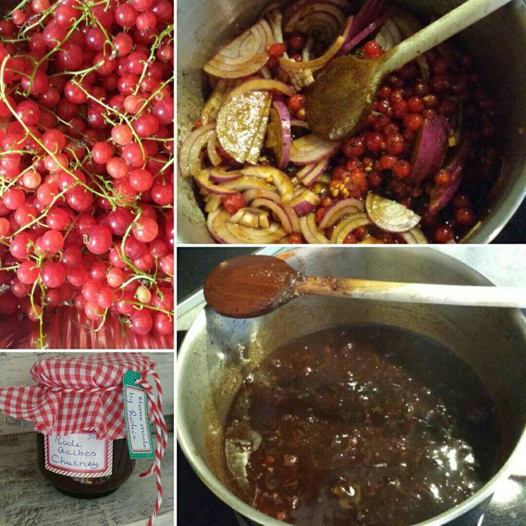 Heerlijke rode aalbes chutney! Ik had enorm veel rode aalbesjes in de tuin, daarom heb ik er een paar potten chutney van gemaakt. Lekker bij het vlees. Makkelijk te maken.  Ongeveer 400 gr rode aalbesjes; 125 gr bruine suiker; 2 rode uien; een stuk gemberwortel; peper en zout; een paar lepels balsamicoazijn. Een uur inlaten koken, vervolgens in weckpotten of jampotjes gieten en af laten koelen. De jampotjes of weckpotten goed uitsoppen met soda en op een schone theedoek laten drogen. Et…