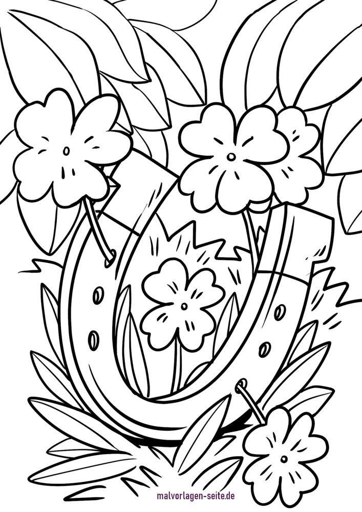 Malvorlage Vierblättriges Kleeblatt und Hufeisen