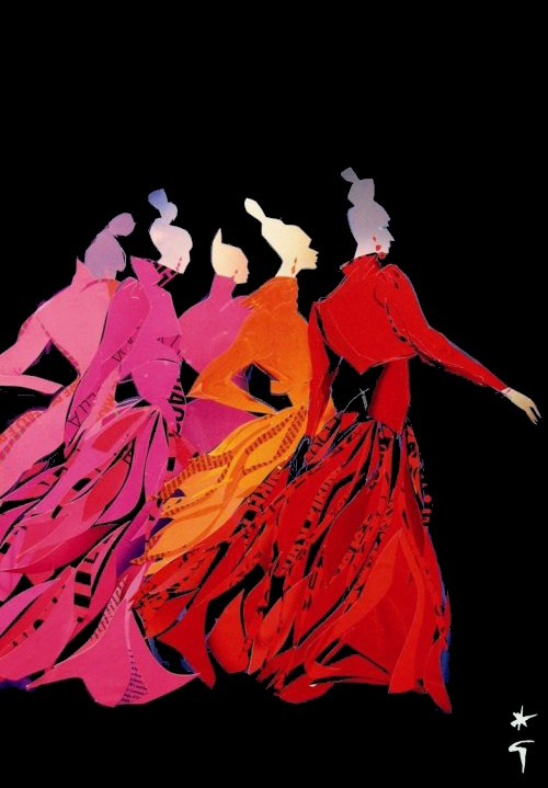 Back view of women in movement with top knots, dresses with long sleeves, long full skirts, black waistline bows, red, gold, hot pink, pale pink, black background, striking