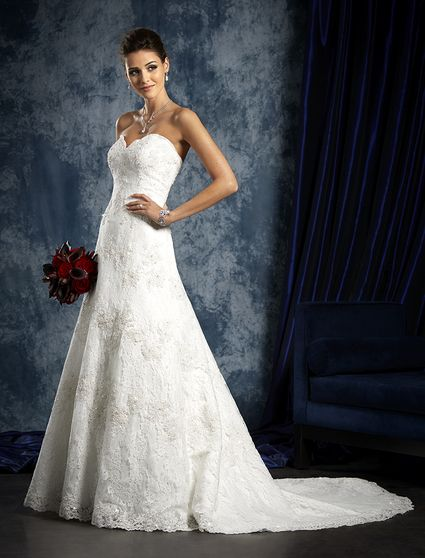 Alfred Angelo Sapphire, Alfred Angelo - Sapphire Collection 2015 - Style 801 Princess Line Soft Lace, Lightly Beaded Wedding Dress