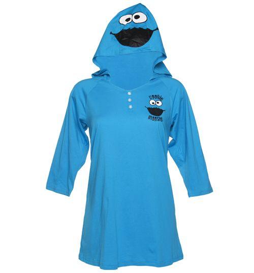 Ladies Sesame Street Cookie Monster Hooded Night Dress: Sesame Street, Cookies Monsters, Clothing, Monsters Night, Midnight Snacks, Night Dresses, Hoods Night, Street Cookies, Monsters Hoods