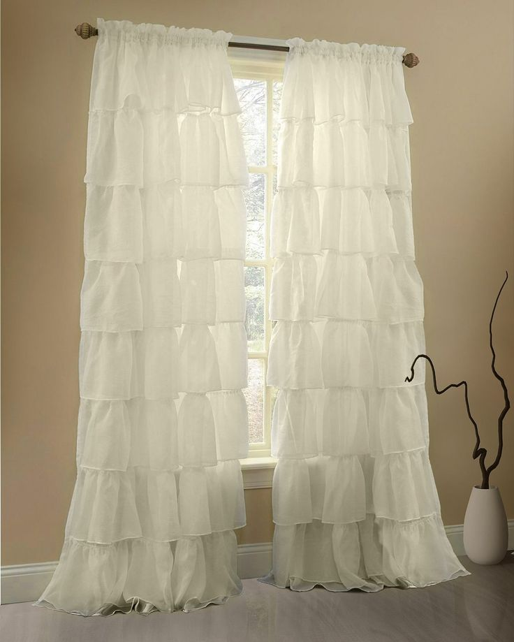 Amazon.com: Gee Di Moda Cream Ruffle Curtains Gypsy Lace Curtains for Bedroom Curtains for Living Room - Cream 60x84 inch Ruffled Curtains for Kids Room Shabby Chic Curtain for Nursery Kids Curtains for Girls: Home & Kitchen