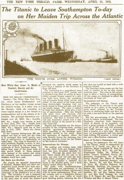 New York Herald report of the Titanics maiden voyage 10th April 1912