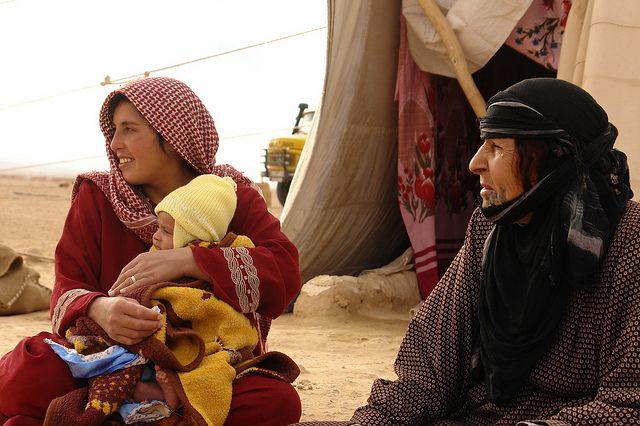 Bedu shepherd family near Palmyra, Syria