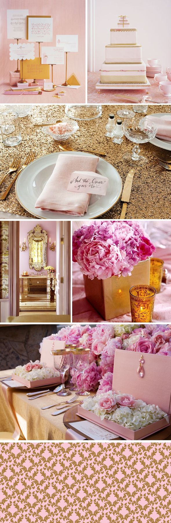 This is my dream wedding theme. Pink and gold. Girly and glamorous<3 shower idea: ask on invite: how did you meet; what made you fall in love
