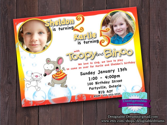 Toopy and Binoo Invitation  Printable by DesignableDreams on Etsy, $7.50