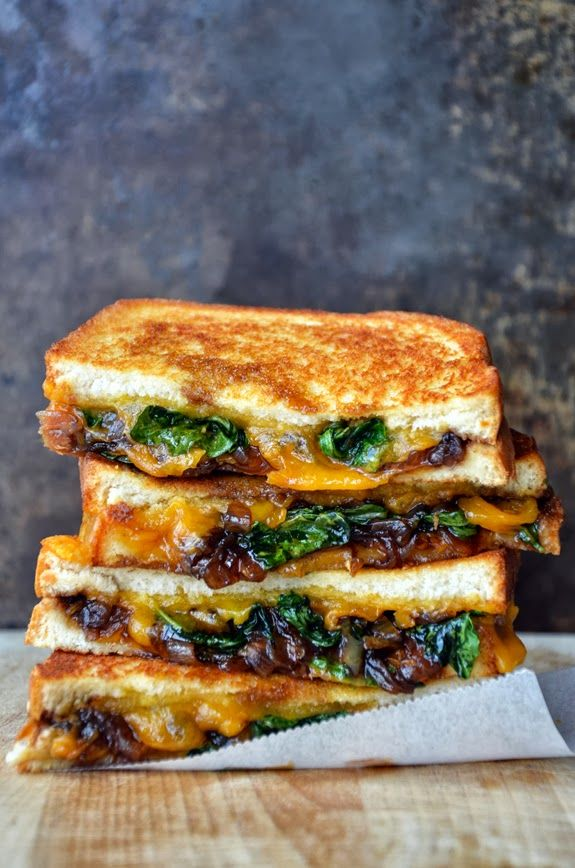 caramelized balsamic onions with kale and cheese for a different grilled cheese sandwich