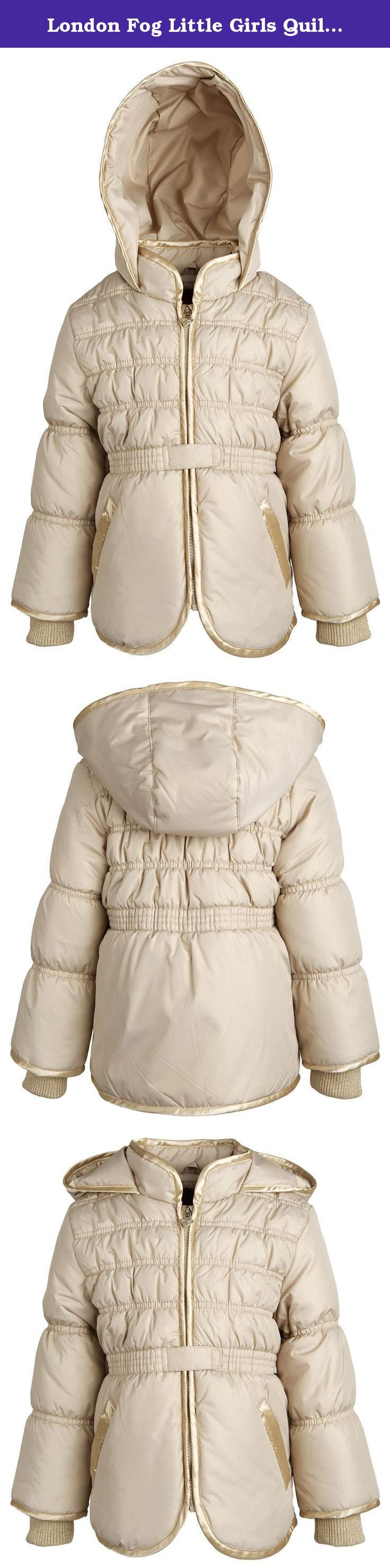 London Fog Little Girls Quilted Padded Fleece Lined Hooded Dressy Spring Jacket - Gold (Size 5/6). A feminine classic. This puffer coat by London Fog is smocked at the waist, sports detailed quilting at the top, and is ornamented by a heart shaped zipper charm. Its outer shell material sparkles subtly, as well as the ribbed knit cuffs. Thick fleece lines the back, thus providing additional warmth. Available in sizes 2 to 6X.