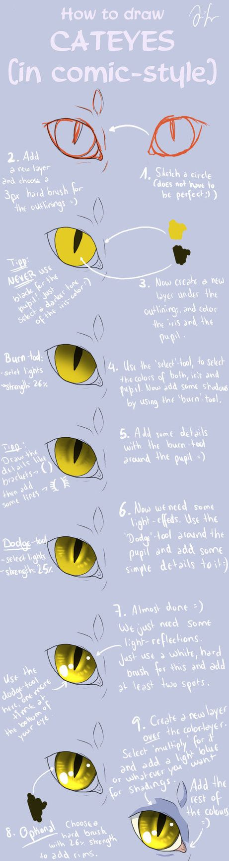 Cat Eye Tutorial (comic-style) by *Mizu-no-Akira on deviantART