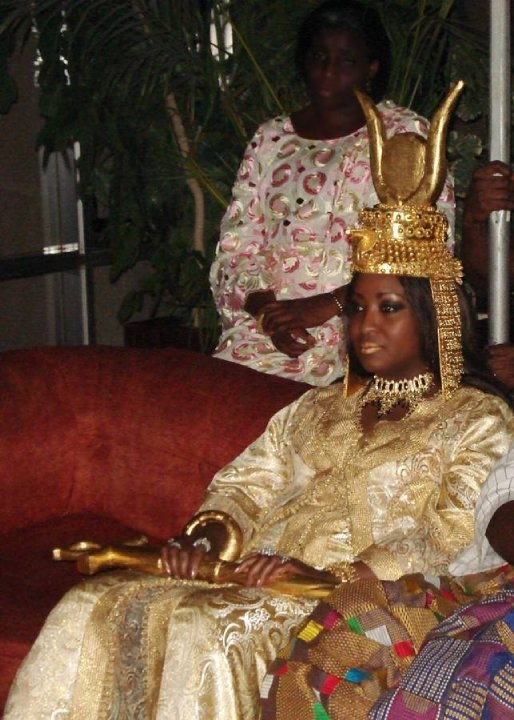 H.I.M Empress Shebah Sai 'Ra - Queen Shebah lll, Nubia-Sheba Nations Imperial Matriarch and Federation of Kingdoms and Thrones of the African Continent Kingdoms Federation, in 2008 Cote d'Ivoire inter-Kingdoms visit, media interview, with Cabinet and Royal Court.