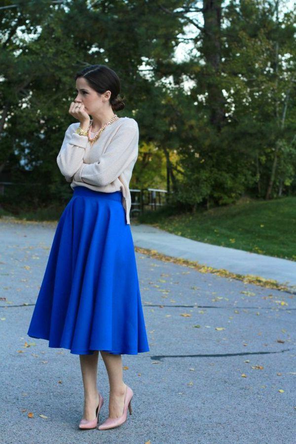 jupe corolle bleue midi longue