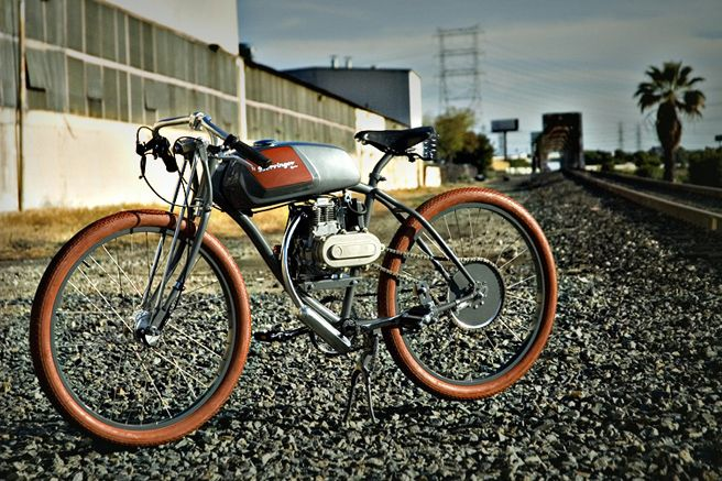 Derringer Cycles -  Custom-Built Motorbike (Motorized Bicycle) - Gray with Brown Tires  and Sylver Tank - Railroad Photo