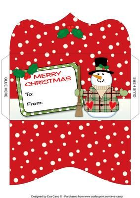 Free christmas gift card envelope template