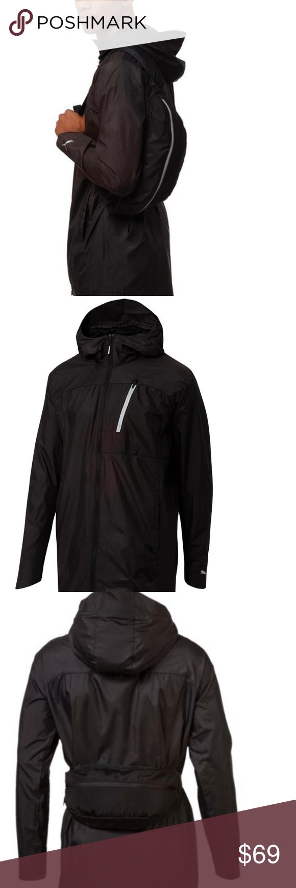 """NWT PUMA EVOLUTION LAB JACKPACK WINDBREAKER Awesome windbreaker by Puma.  Fits inside, multi use, fanny pack (included) Water resistant  Well made with 3 front, functional, pockets  Mesh lining  Approximately 35""""L in front and 39""""L in back Fantastic! Men's XL  Retails $160, currently on website for $120 Note: Stock pictures shown for reference. Same item, different color. The item being listed is silver and black.  Comes from a smoke free home. Bundle & save! Puma Jackets & Coats…"""