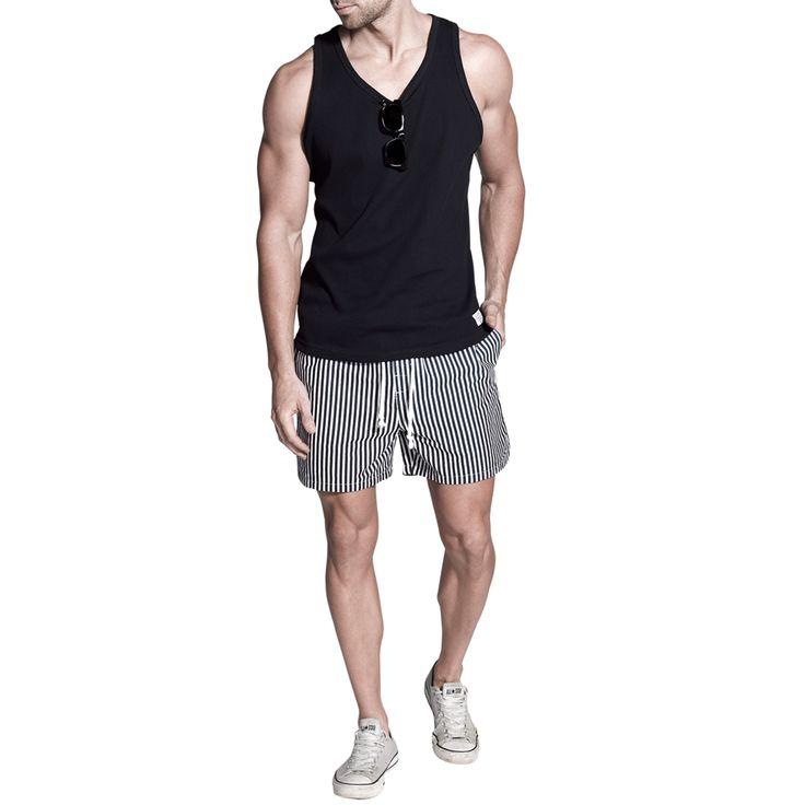 Hardy Rib Tank Navy   Penkivil Boxer Shorts   Stripe #campbellandhall #menswear #mensclothing #shorts #stripes