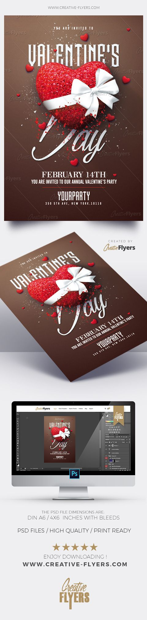Creative Valentine's Day Flyer Enjoy downloading the Premium Photoshop PSD Flyer / poster Template designed by Creative Flyers perfect to promote your Valentine's Day Party ! #valentinesday #flyers #templates #invitation #creativeflyers