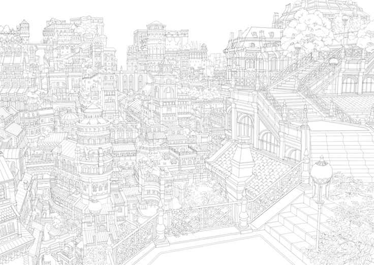 Try It Yourself Almost Impossible To Draw Anime Lineart Of A City Drawing Tutorial