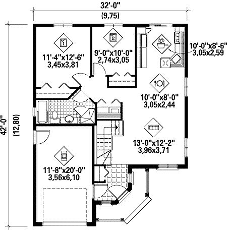 Plan w80624pm metric narrow lot canadian cottage house for Metric homes