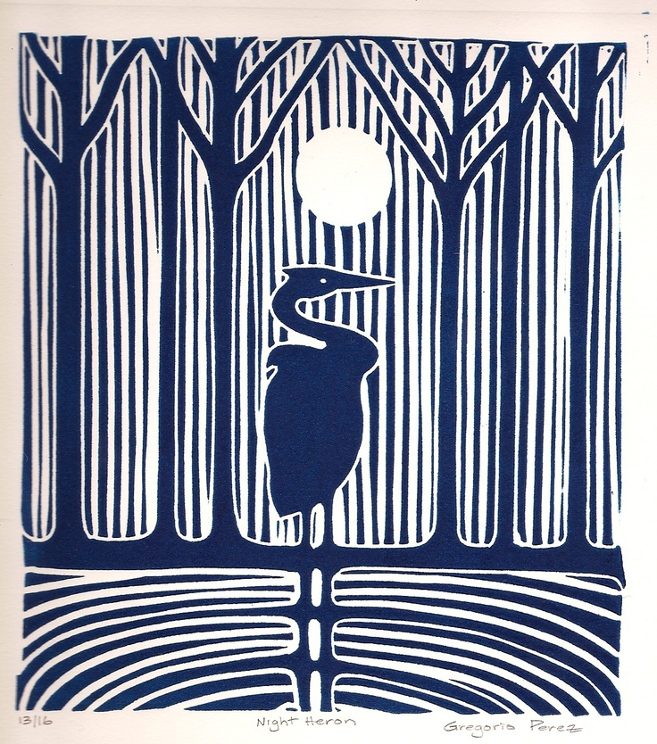 Night Heron - linocut print- gregorioperez. Amazing how much you can do with just one colour and the white of the paper.