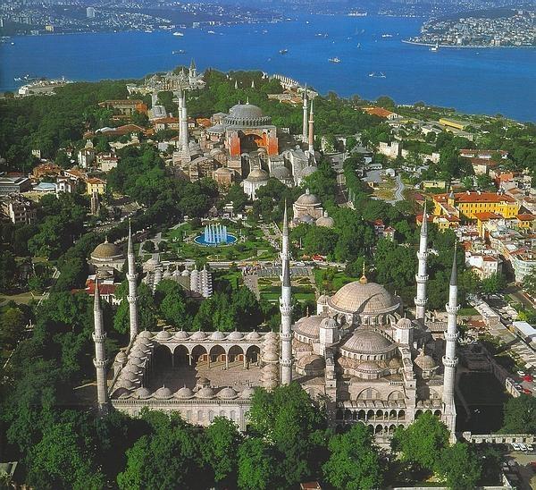 Hagia Sophia and Blue Mosk, Instanbul (Constantinople) Turkey