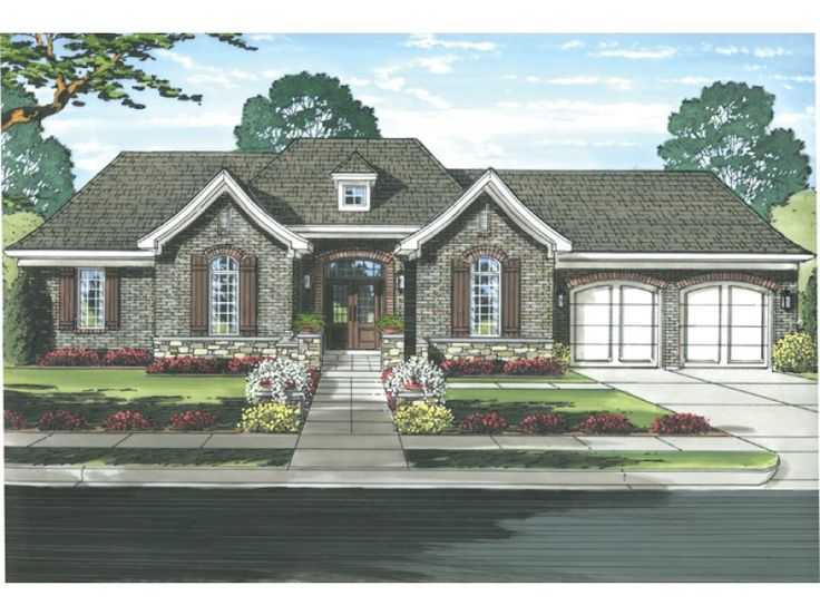 french country style 1 story 3 bedroomss house plan with 1948 total square