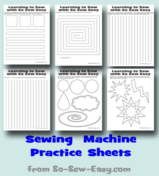 Learn to sew and use your sewing machine with these Sewing Machine Practice Sheets.