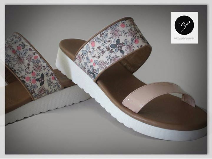 "Collection ""Riviera"" S/S 2015 Grasse  • flat sandals   • nude leather with floral detail, brown lining and white sole"