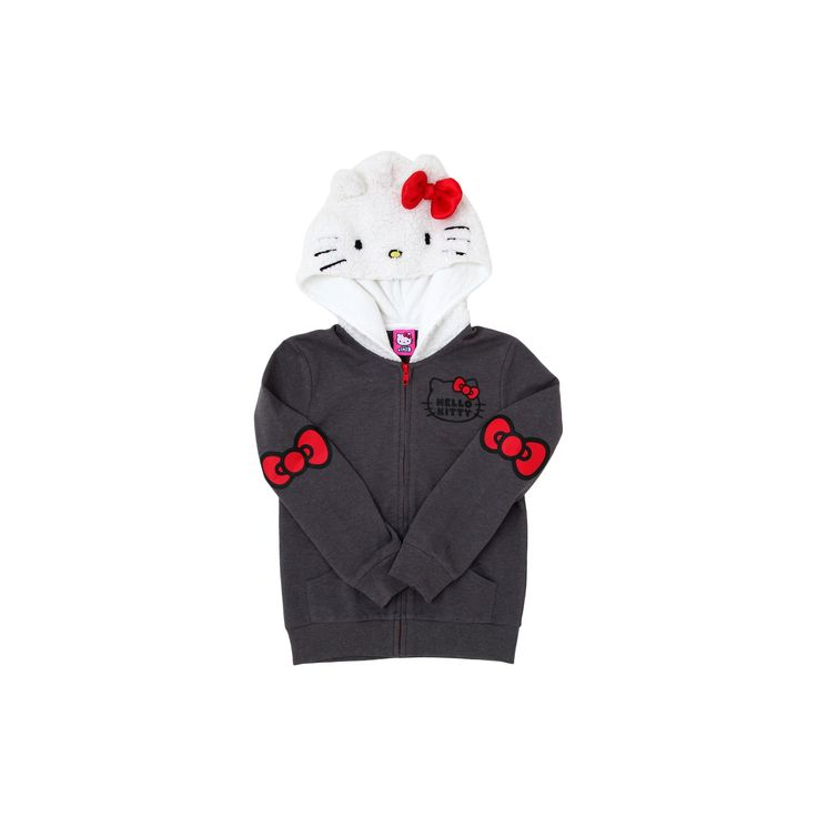 Girls' Hello Kitty Costume Hoodies - Charcoal Heather XL, Size: XL(14-16), Gray