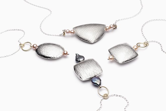 France Roy | Hollow Pendants| Sterling silver, 18k  gold, pearls.